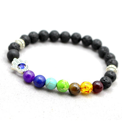 7 Chakra Bracelet Men Black Lava Healing Balance - CoLyfeRaw Beauty