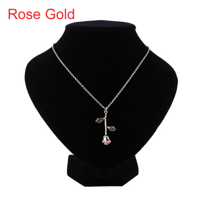 1 Pcs Delicate Rose Flower Pendant Necklace Charm Gold Silver - CoLyfeRaw Beauty