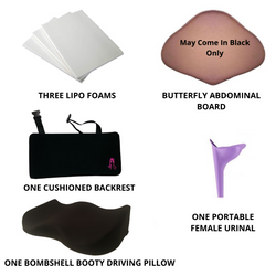 Butt Lift Post Op Essentials Kit -With Driving Pillow - bbl-pillow, BBL PILLOW - recovery pillow, BOMBSHELL BOOTY PILLOW, the official bbl pillow corp, BOMBSHELL BOOTY PILLOW - bombshell booty pillow