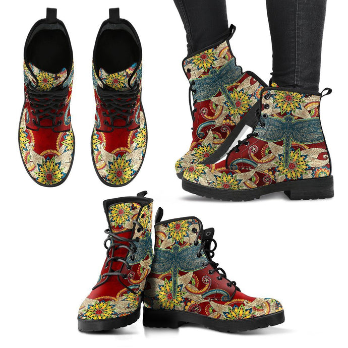 Handcrafted Dragonfly Mandala Red Boots