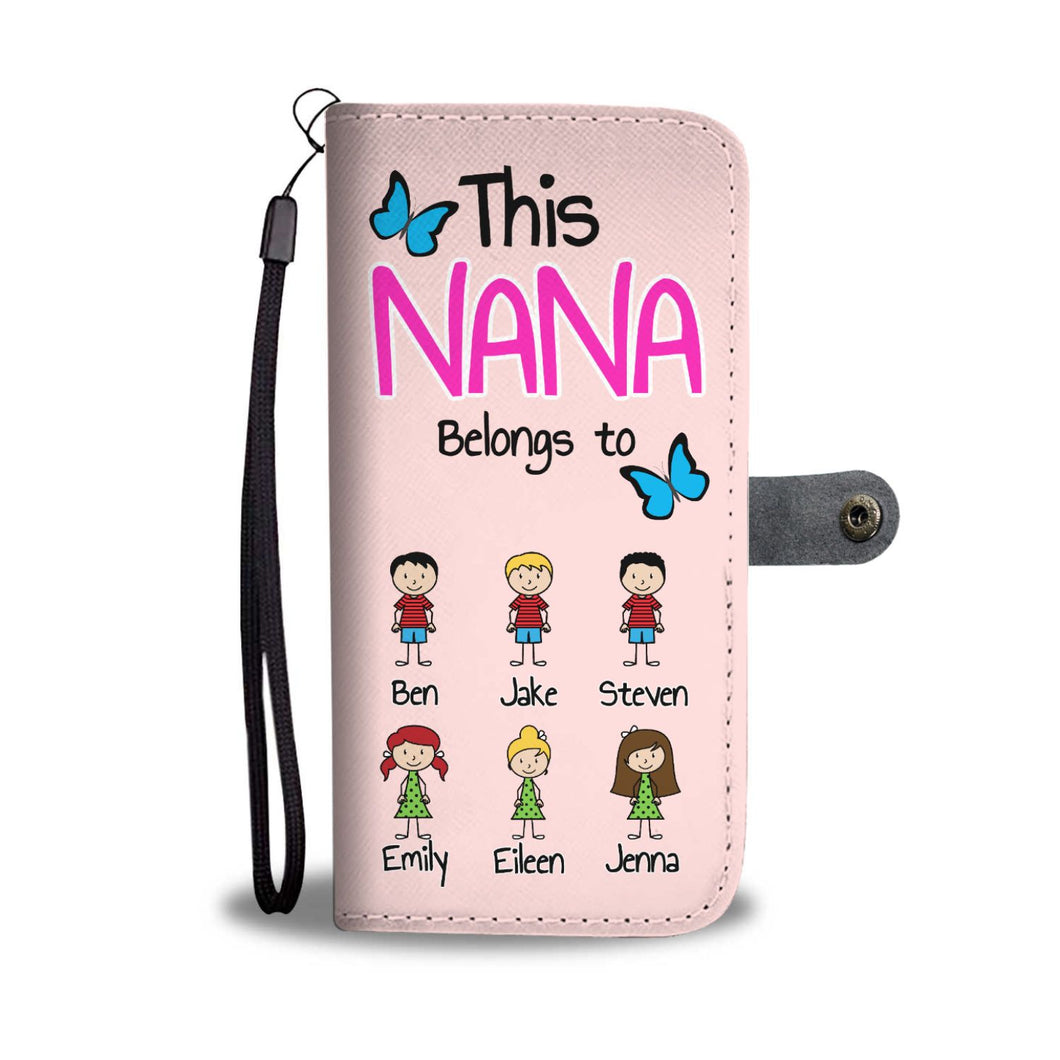 PERSONALIZED THIS NANA BELONGS TO WALLET PHONE CASE 'PINK'