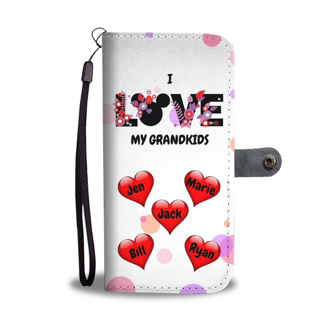 PERSONALIZED LOVE MY GRANDKIDS HEARTS WALLET PHONE CASE