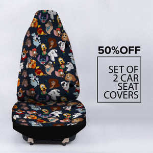 DISNEY DOGS BLACK CAR SEAT COVERS (SET OF 2)
