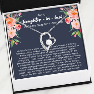 To My Daughter-In-Law, We Love The Same Man, Forever Love Necklace
