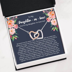 To My Daughter-In-Law, What My Son Means To Me, Interlocking Hearts Necklace