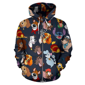 DISNEY DOG FACES ZIP UP HOODIE