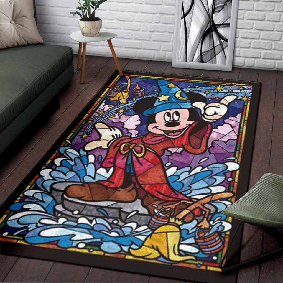WIZARD MICKEY MOSAIC AREA RUG