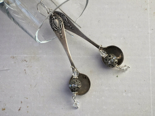 Spoonful of Sugar earrings, Vintage Salt Spoons, Swarovski