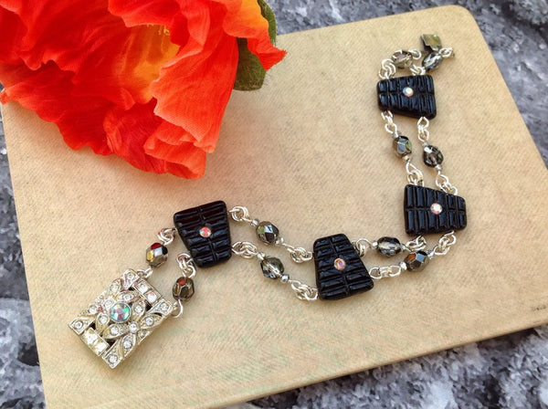Art Deco style, vintage beads, Swarovski, 1920s, vintage clasp, Czech beads, sterling, antique beads, antique clasp