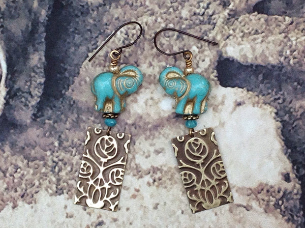 good luck earrings, handmade, one of a kind, niobium ear wires, lightweight, embossed brass, Czech glass