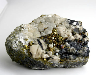 10099_Calcite, pyrite, sphalerite on matrix