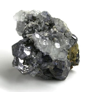 10119_Galena, calcite, chalcopyrite on matrix