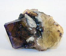 Crystal - Fluorite cube with calcite
