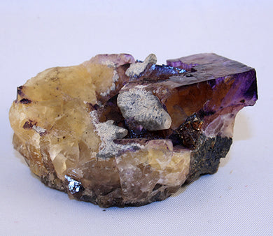 Fluorite cube on matrix - front view
