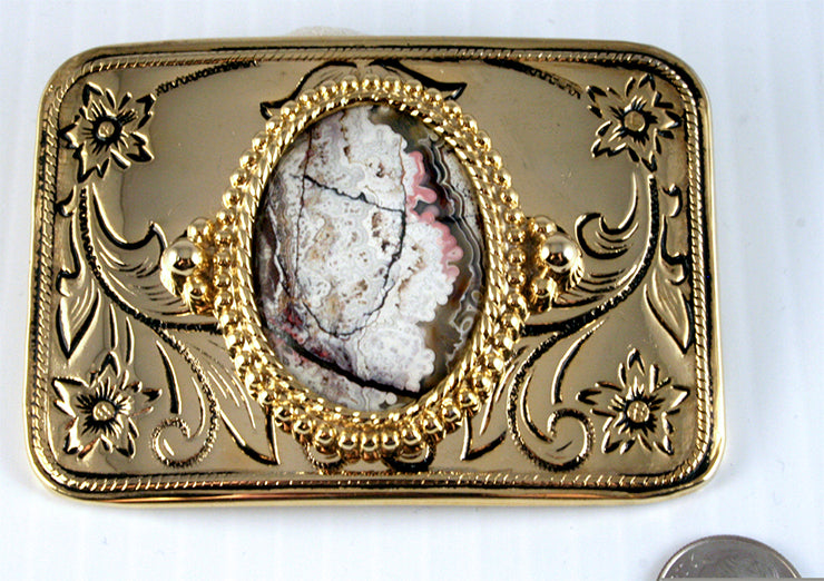 Belt Buckle with  Crazy Lace Agate