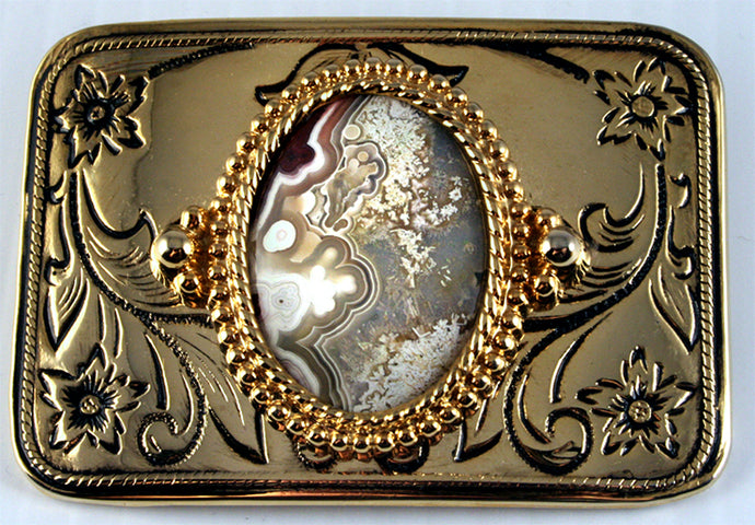Belt Buckle with Crazy Lace Agate Cab