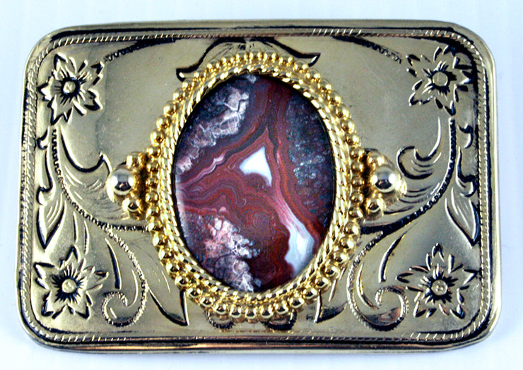 Belt Buckle -Western Design with Rare Red Crazy Lace Agate Cab