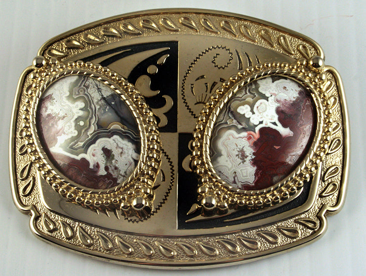 Belt buckle -Western design with double Crazy Lace agate cabs