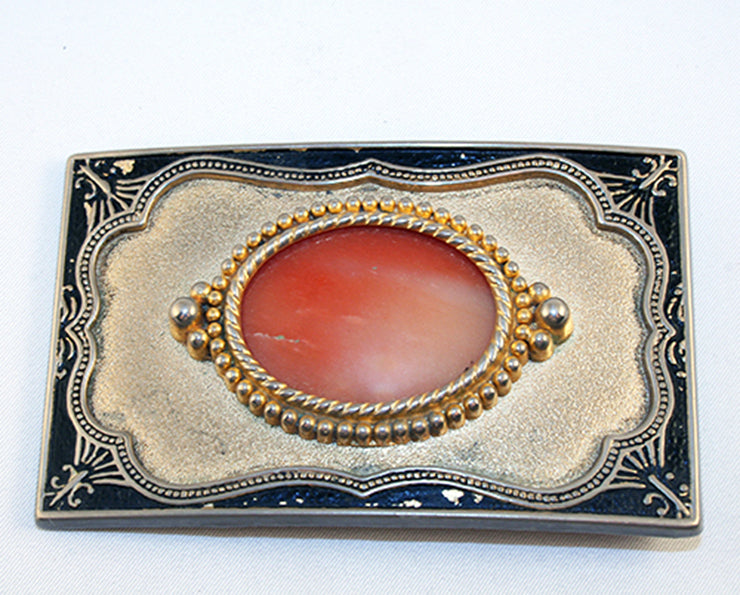 40522_Belt Buckle with orange agate cab