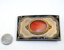 40522_Belt Buckle with orange agate cab-index with quarter