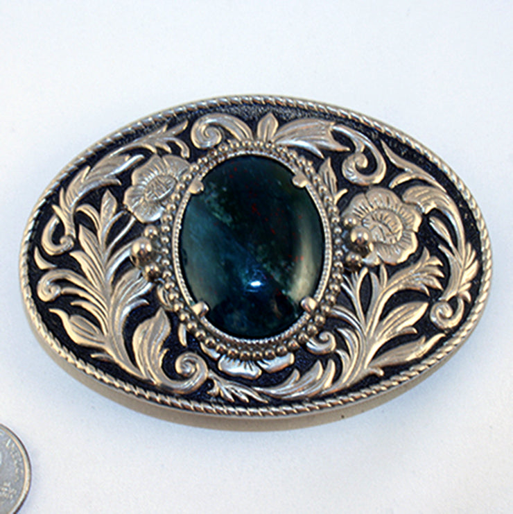 40528-Belt buckle with bloodstone cab