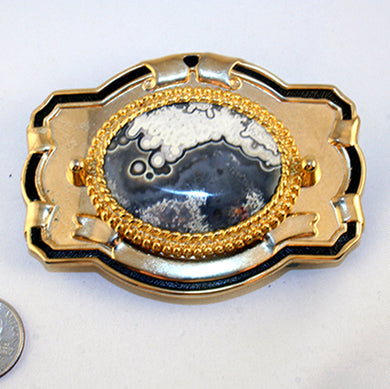 Belt Buckle with Crazy Lace Cab in Grey