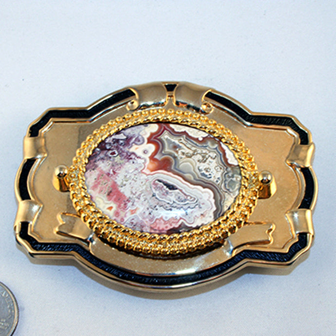 40531- Belt Buckle with red and grey crazy lace cab