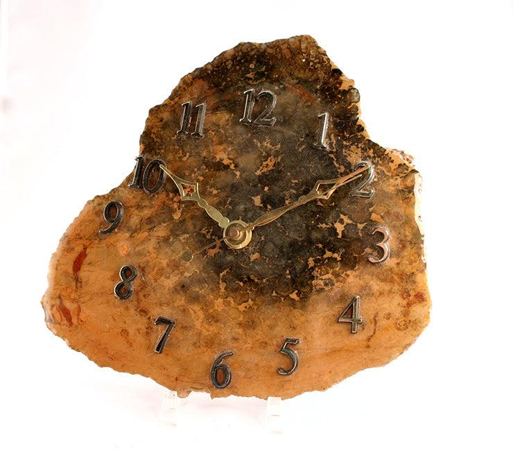 Coprolite clock - front view on stand