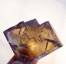 Crystal - Fluorite -blue and yellow Crystal Cube