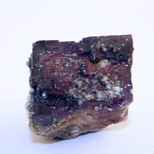 10227_Fluorite cube with calcite crystals-front