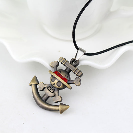 One Piece Skull Anchor Pendant Necklace