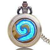 World of Warcraft Hearthstone Glass Dome Case Pocket Watch With Chain Necklace