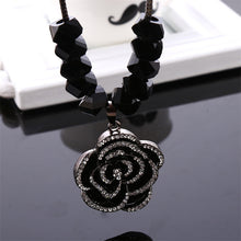 Trendy Women Link Chain Black Rose Luxury Necklace