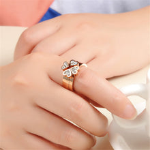 """Shamrock"" Rose Gold Plated Cubic Zircon Three Sets Ring"