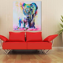 Elephant With Son Canvas Painting (Unframed)