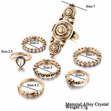 Vintage Tibetan Look Gold Color Midi Ring 7PCS/Set for Woman