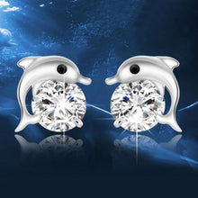 Lovely Crystal Eye Dolphin Stud Earrings