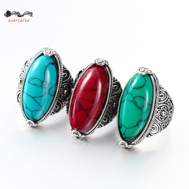Tibetan Silver Plated Turquoise Rings for Women