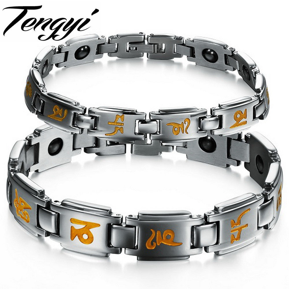 Stainless Steel Wide Yoga Bracelet With Energy Magnetic Stones