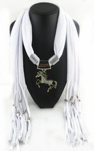 Horse Pendant Scarf with Tassel Beads