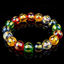 Om Energy Glass/Stone Engrave Multi Color Bracelets