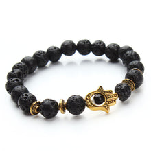 Natural Lava Energy Stone Beads Bracelet with Hamsa Hand Charm