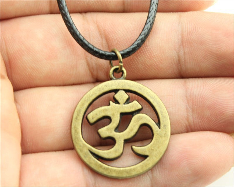 OM Pendant Leather Chain Necklace