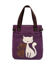 Women's Canvas Handbags with Cute Cat
