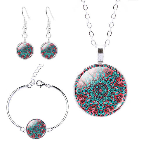 Mandala Flower Necklaces With Earrings & Bracelets