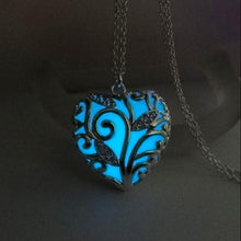 Turquoise Glow In the Dark Heart Necklace Pendant