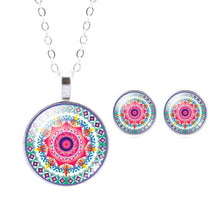 Mandala Flower OM Symbol Glass Stud Earrings & Pendant Necklace