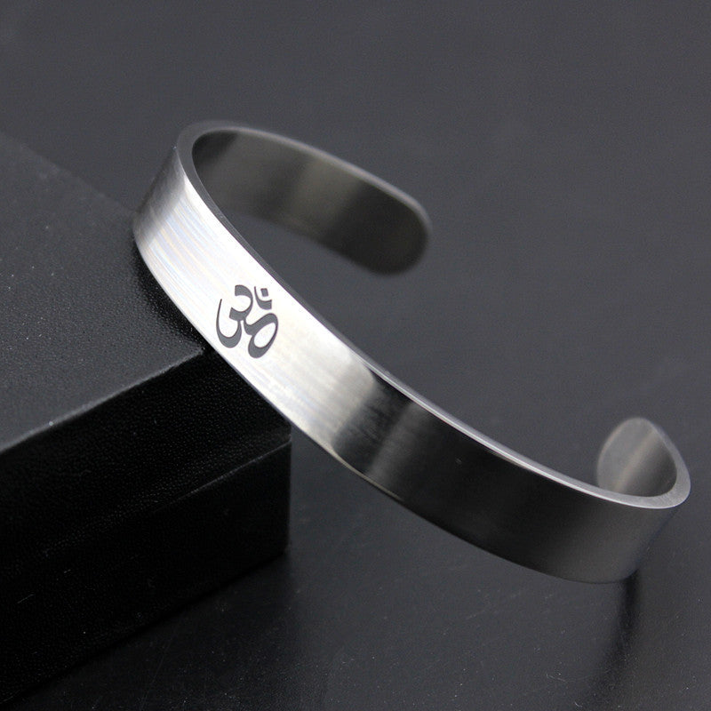 Silver Tone Stainless Steel OM Yoga For Men and Women Cuff Stretch Bracelets