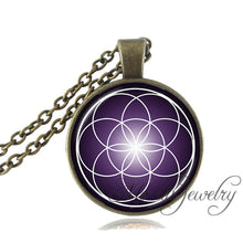 Vintage Bronze Sacred Geometry Spiritual Yantra Pendant with Necklace
