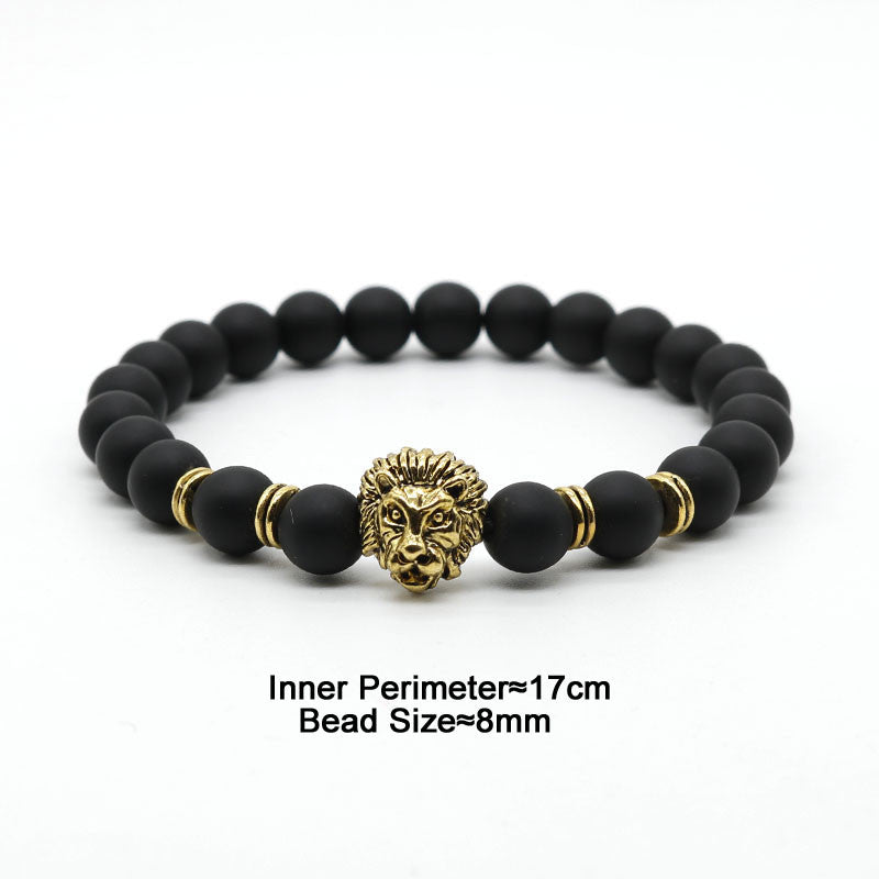 Black Lava Stone Antique Lion Head Beaded Bracelets For Men and Women